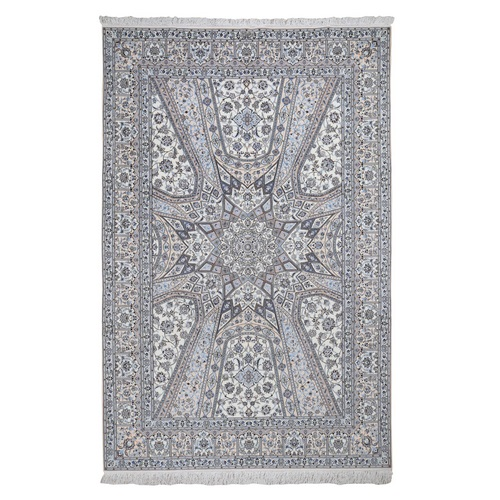 New Persian Nain Wool And Silk 400 KPSI Signed Habibian , Gumbad Design Hand Knotted Oriental Rug