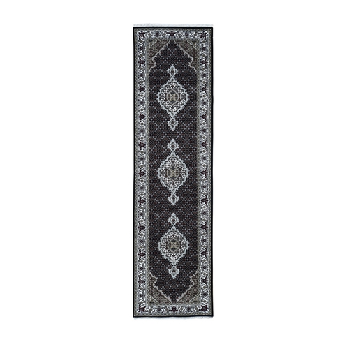 Black Tabriz Mahi Wool and Silk Runner Hand Knotted Oriental