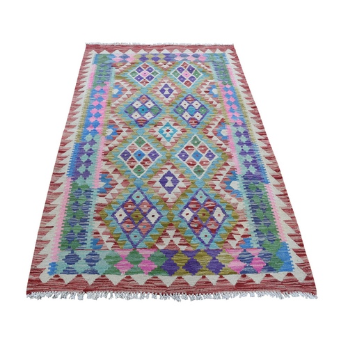 Colorful Afghan Kilim Pure Wool Hand Woven Oriental