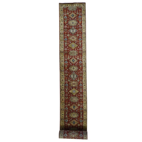 Red Karajeh Pure Wool Hand Knotted XL Runner Hand Knotted Oriental Rug