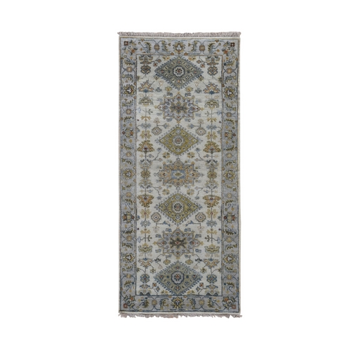 Ivory Karajeh Design Pure Wool Runner Hand Knotted Oriental