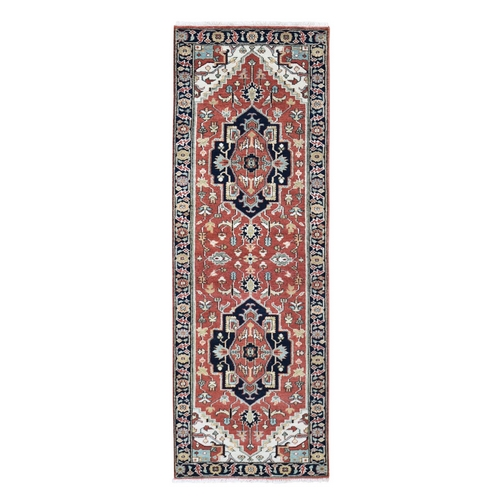 Antiqued Heriz Re-creation Pure Wool Runner Hand Knotted Oriental