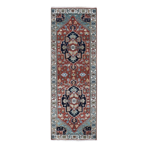 Red Heriz Revival Pure Wool Runner Hand Knotted Oriental