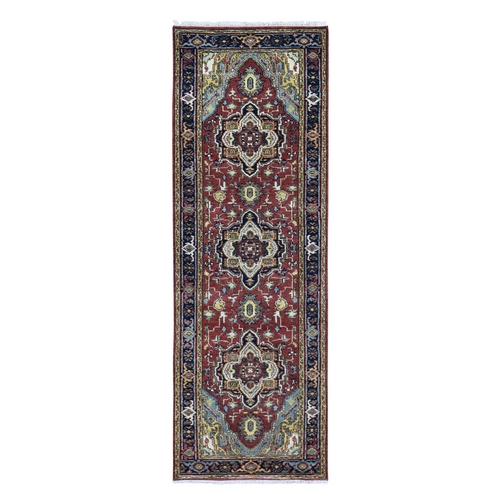 Red Heriz Revival Pure Wool Hand-Knotted Oriental Runner