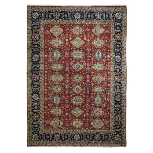 Red Pure Wool Karajeh Design Hand Knotted Oriental Rug