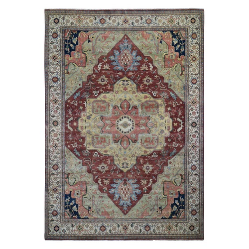 Antiqued Heriz Re-Creation Pure Wool Hand Knotted Oriental
