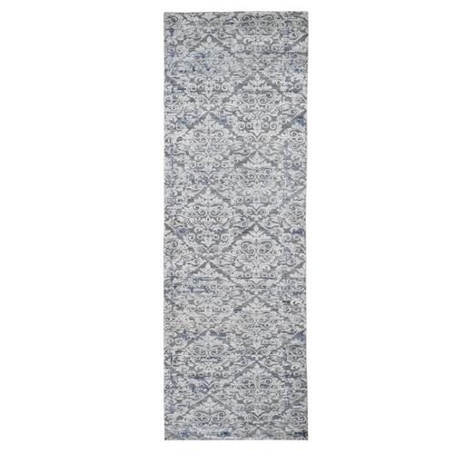 Gray Silk With Textured Wool Trellis Garden Design Runner Hand Knotted Oriental