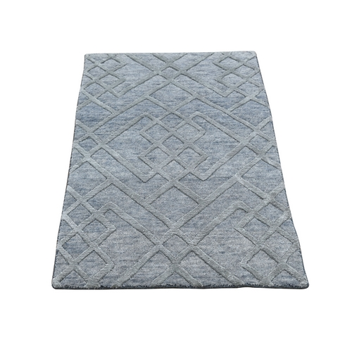 Gray Wool And Silk Modern Hi Low Pile hand Knotted Oriental