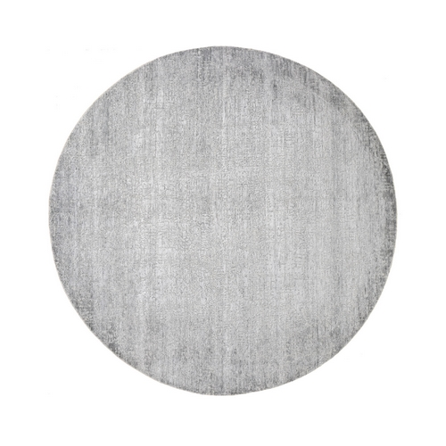 Gray Round Tone On Tone Wool And Silk Hand Knotted Oriental
