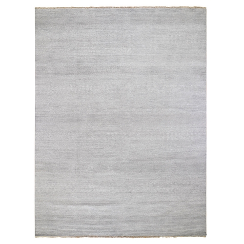 Gray Wool and Silk Grass Design Thick And Plush Hand Knotted Oriental