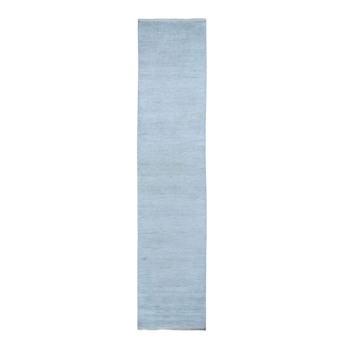 Gray Grass Design Wool And Silk Runner Hand Knotted Oriental