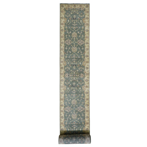 Green Pure Wool Hard Twist Agra XL Runner Hand Knotted Oriental Rug