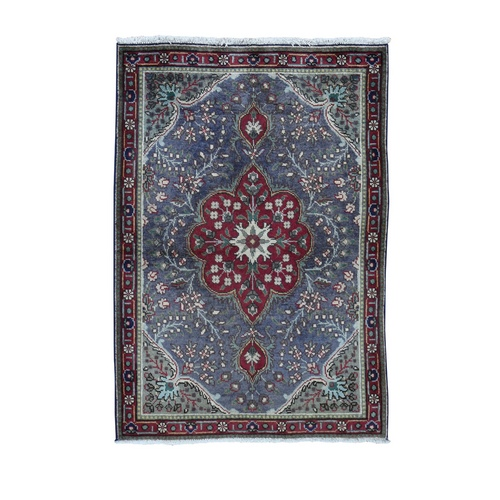 Gray Semi Antique Persian Tabriz Pure Wool Hand Knotted Oriental