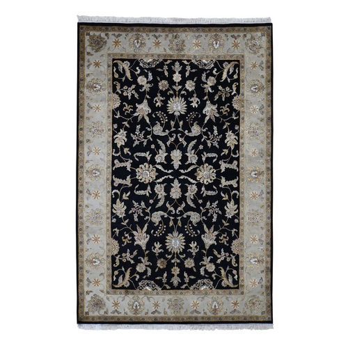 Black Half Wool And Half Silk Rajasthan Hand Knotted Oriental Rug