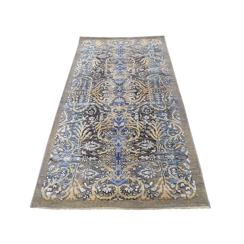 Hand Knotted Silk with Textured Wool Transitional Sarouk Runner Oriental