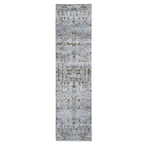 Gray Silk With Textured Wool Hand Knotted Modern Runner Oriental