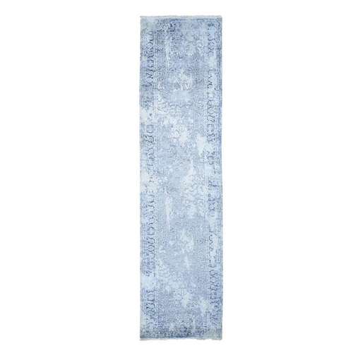 Gray Broken Persian Design With Pure Silk Runner Hand Knotted Oriental