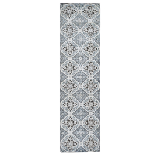 Gray Silk With Textured Wool Repetitive Design Hand Knotted Runner Oriental
