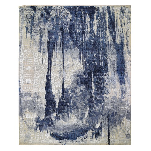 Oversized Wool And Silk Shibori Design Tone On Tone Hand Knotted Oriental
