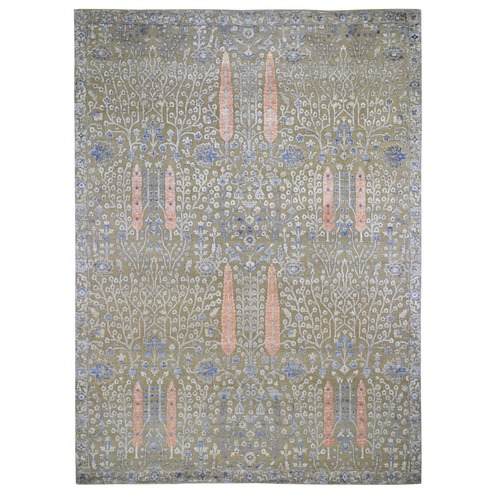 Cypress Tree Design Silk With Textured Wool Hand Knotted Oriental