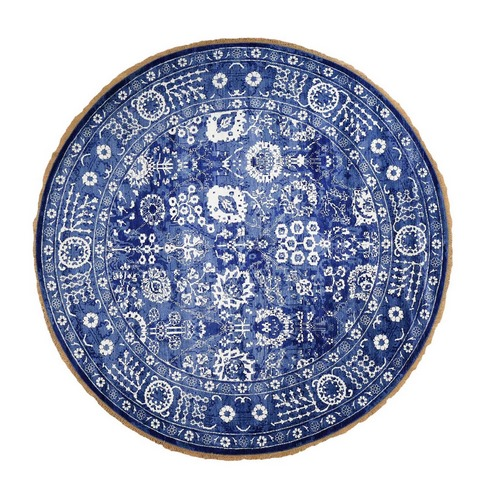 Round Blue Wool and Silk Tone On Tone Fine Oriental Hand Knotted Oriental Rug