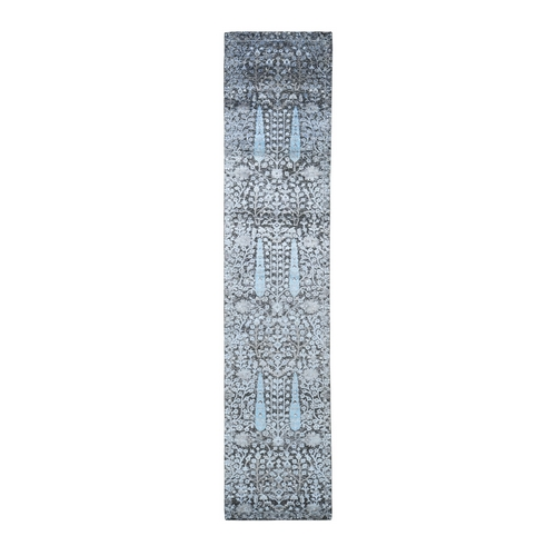Cypress Tree Design Silk with Textured Wool Runner Hand Knotted Oriental