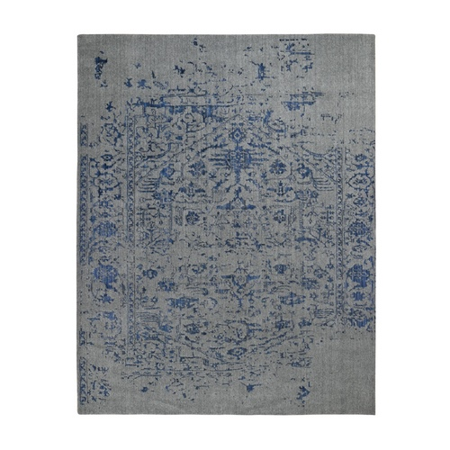 jacquard Hand Loomed With Broken Persian Heriz Design Blue Oriental