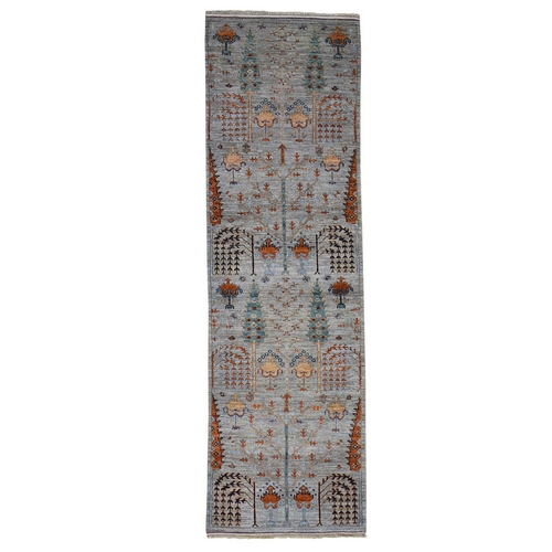 Gray Peshawar Willow And Cypress Tree Design Hand Knotted Oriental Runner