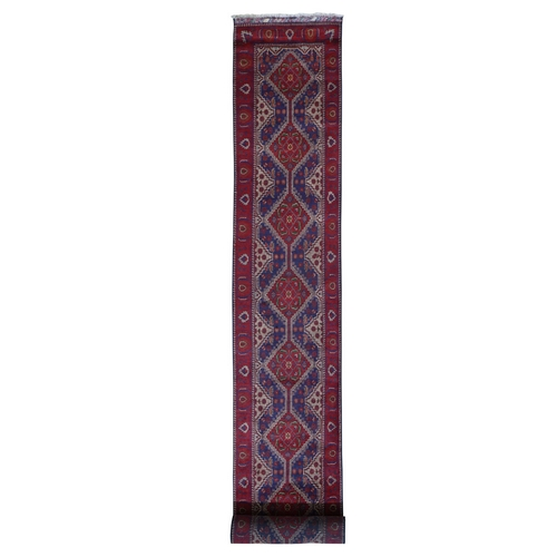 Red Natural Dyes XL Runner Afghan Khamyab Hand Knotted Oriental