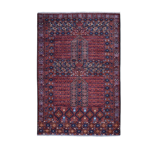 Afghan Ersari Hutchlu Design Pure Wool Hand Knotted Oriental