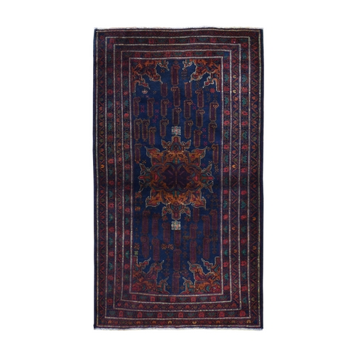 Navy Blue Afghan Baluch Wide Runner Pure Wool Hand Knotted Oriental Rug