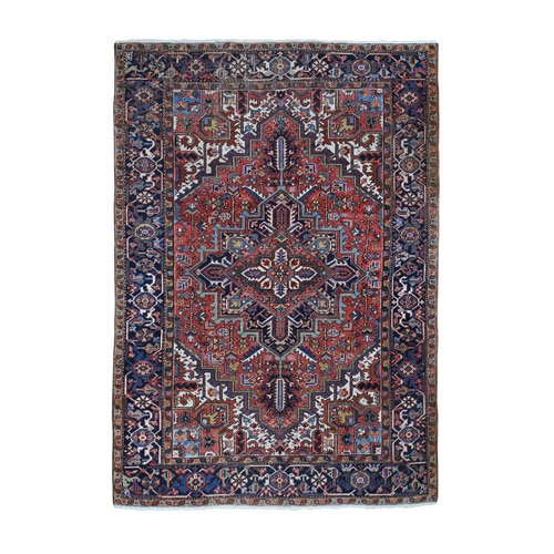 Red Antique Persian Heriz Some Wear Pure Wool Hand Knotted Oriental Rug
