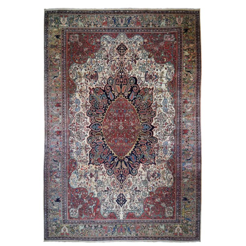 Oversized Antique Persian Sarouk Fereghan With Birds Full Pile And Soft Hand Knotted Oriental Rug