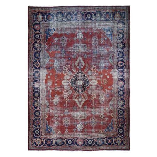 Red Antique and Worn Persian Mahal Hand Knotted Oriental