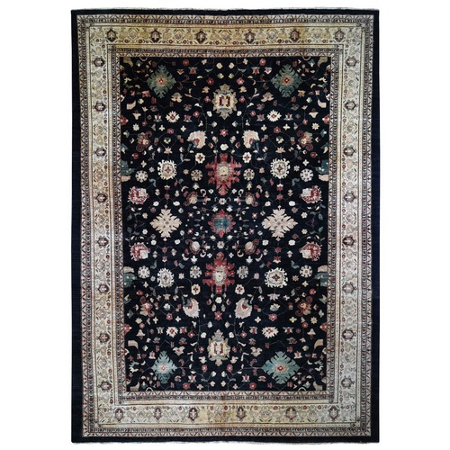 On Clearance Black Oversized Ziegler Mahal Persian Hand Knotted Oriental