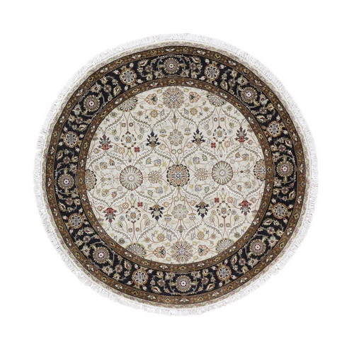 Hereke Design Wool And Silk Hand-Knotted 300 Kpsi Round Oriental