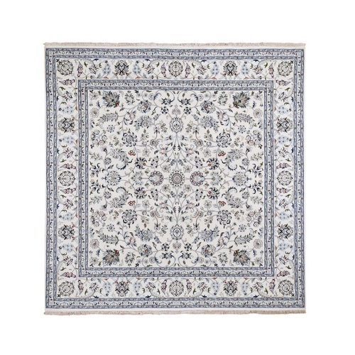 Square Wool And Silk 250 KPSI All Over Design Ivory Nain Hand Knotted Oriental Rug