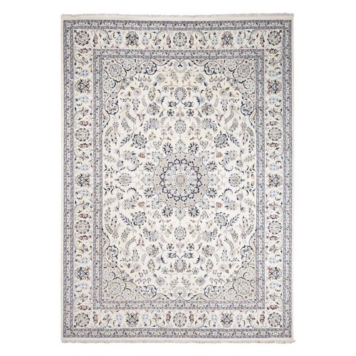Ivory Wool and Silk 250 KPSI Nain Hand Knotted Oriental Rug