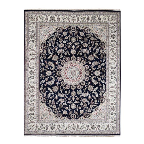 Navy Blue Wool And Silk 250 KPSI  Nain Hand Knotted Oriental Rug