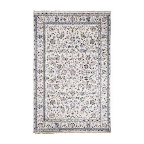 Ivory Nain All Over Design Wool And Silk 250 KPSI Hand Knotted Oriental Rug