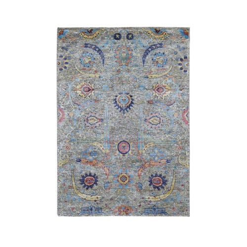 Hand Knotted Sickle Leaf Design Silk With Textured Wool Oriental Rug