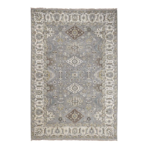 Gray Karajeh Design Pure Wool Hand Knotted Oriental