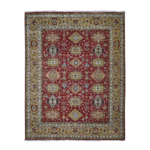 Red Hand Knotted Karajeh Design Pure Wool Oriental Rug