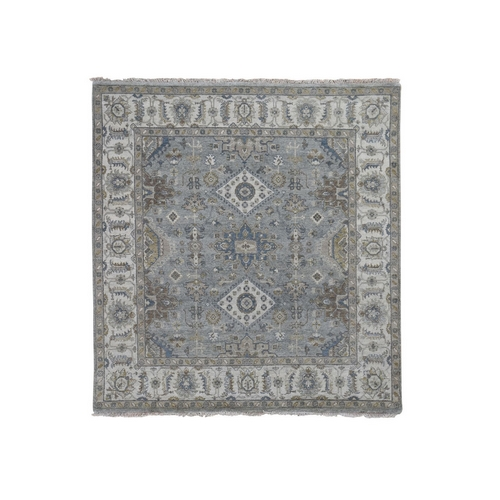 Square Gray Karajeh Design Pure Wool Hand Knotted Oriental