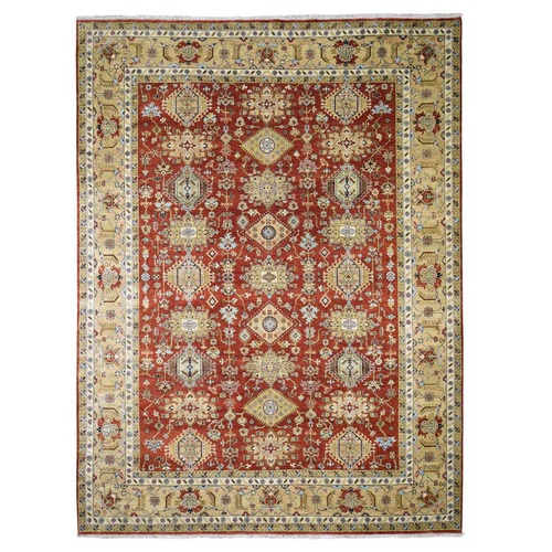 Red Karajeh Design Pure Wool Hand Knotted Oriental Rug