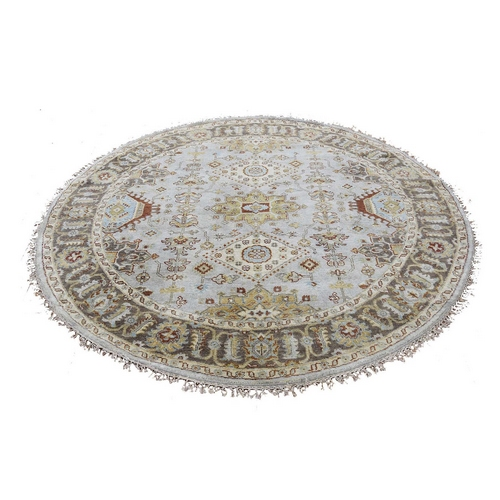 Gray Karajeh Design Pure Wool Round Hand Knotted Oriental
