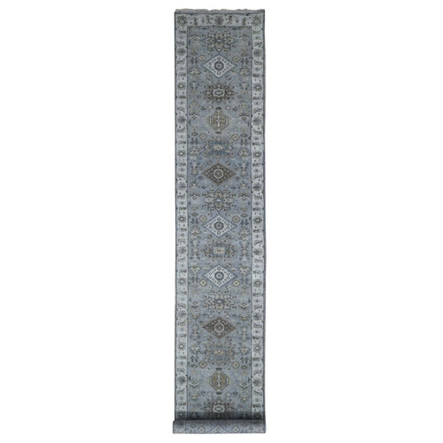Gray Karajeh Design Pure Wool Xl Runner Hand Knotted Oriental Rug