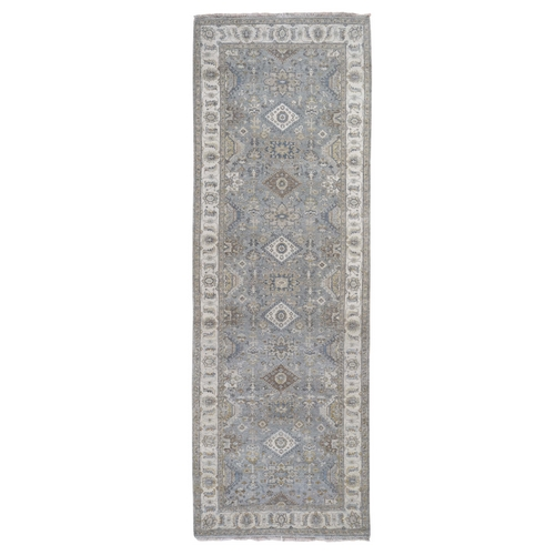 Gray karajeh Design Pure Wool Hand Knotted Wide Runner Oriental