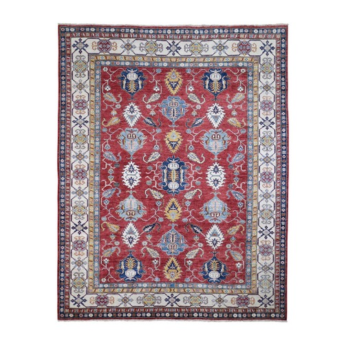 Red Super Kazak Tribal Design Hand Knotted Pure Wool Oriental