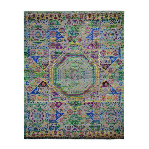 Colorful Sari Silk Mamluk Design Hand Knotted Oriental